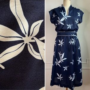 Vintage 80s Floral Midi Dress